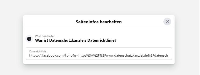 """Facebook """"Seiteninfos bearbeiten"""""""