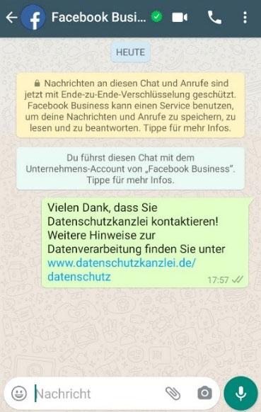 Beispielchat Impressum per Whatsappnachricht