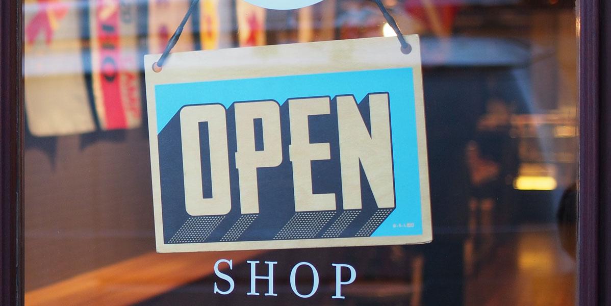 Shop mit Open Schild